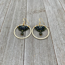 Load image into Gallery viewer, Swarovski Pearl / Green Iris Czech Glass / Navy Crystal / Gold Hoop Earrings