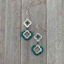 Load image into Gallery viewer, Wire Wrapped / Apatite / Flower Rings / Long Earrings