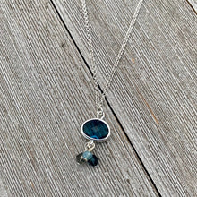 Load image into Gallery viewer, Montana Blue Charm / Crystal Dangles / Double Rolo Chain / Charm Necklace