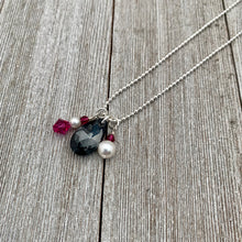 Load image into Gallery viewer, Silver Night Teardrop / Fuchsia / Swarovski Crystals / White / Swarovski Pearls / Ball Chain / Charm Necklace