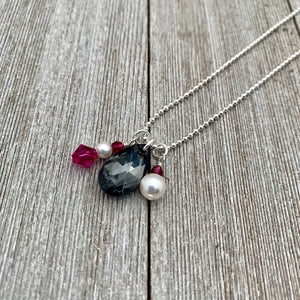 Silver Night Teardrop / Fuchsia / Swarovski Crystals / White / Swarovski Pearls / Ball Chain / Charm Necklace