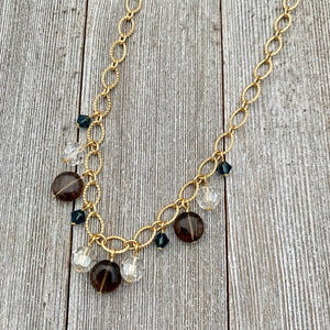 Smoky Quartz / Silver Shade / Montana / Swarovski Crystals / Matte Gold / Textured Chain / Necklace