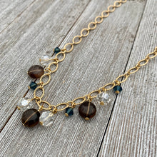 Load image into Gallery viewer, Smoky Quartz / Silver Shade / Montana / Swarovski Crystals / Matte Gold / Textured Chain / Necklace