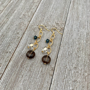 Smoky Quartz / Silver Shade / Montana / Swarovski Crystals / Matte Gold / Chain Earrings