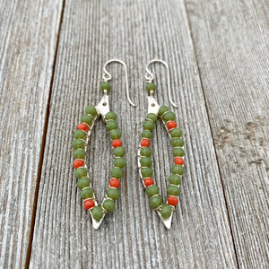 Moss Green / Coral Red / Crystals / Wire Wrapped Leaf Earrings
