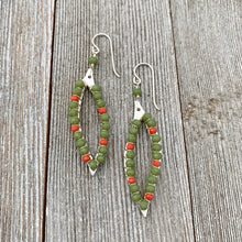 Load image into Gallery viewer, Moss Green / Coral Red / Crystals / Wire Wrapped Leaf Earrings