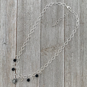 Tourmalated Quartz / Jet / Silver Shade / Swarovski Crystals / Dangling Bead Necklace