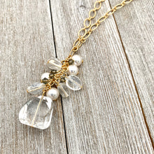 Load image into Gallery viewer, Crystal Quartz / Swarovski Pearls / Black Diamond Swarovski Crystals / Clear Oval Crystals / Matte Gold Chain / Cluster Necklace