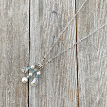 Load image into Gallery viewer, White Swarovski Pearls / Clear Swarovski Crystals / Tiny Blue Grey Crystals / Charm Necklace