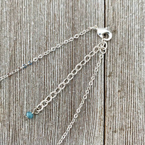 White Swarovski Pearls / Clear Swarovski Crystals / Tiny Blue Grey Crystals / Charm Necklace