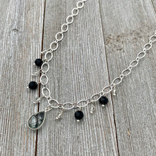 Load image into Gallery viewer, Tourmalated Quartz / Jet / Silver Shade / Swarovski Crystals / Dangling Bead Necklace