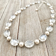 Load image into Gallery viewer, Crystal and Pearl Necklace, Adjustable Length, Sparkle, Bling, Bridal Jewelry, Wedding, Formal