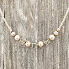 Load image into Gallery viewer, Crystal and Pearl Necklace, Swarovski, Gold Accents, Adjustable Length, Bridal, Wedding, Formal
