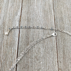 Layered Chain Necklace, Single Pearl, White Swarovski Pearls, Simple, Wedding, Bridal, Bridesmaid