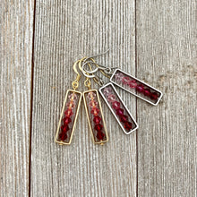 Load image into Gallery viewer, Framed Red to Pink Ombre Swarovski Crystal Earrings