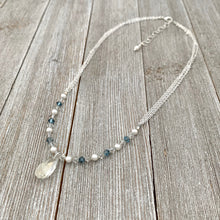 Load image into Gallery viewer, Swarovski Crystals and Pearls, Crystal Teardrop, Silver Shade, Light Sapphire Satin, Adjustable