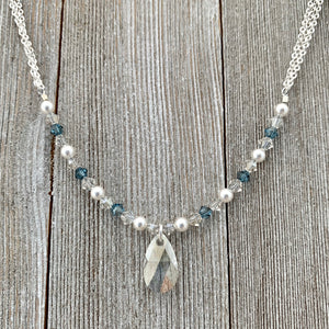 Swarovski Crystals and Pearls, Crystal Teardrop, Silver Shade, Light Sapphire Satin, Adjustable