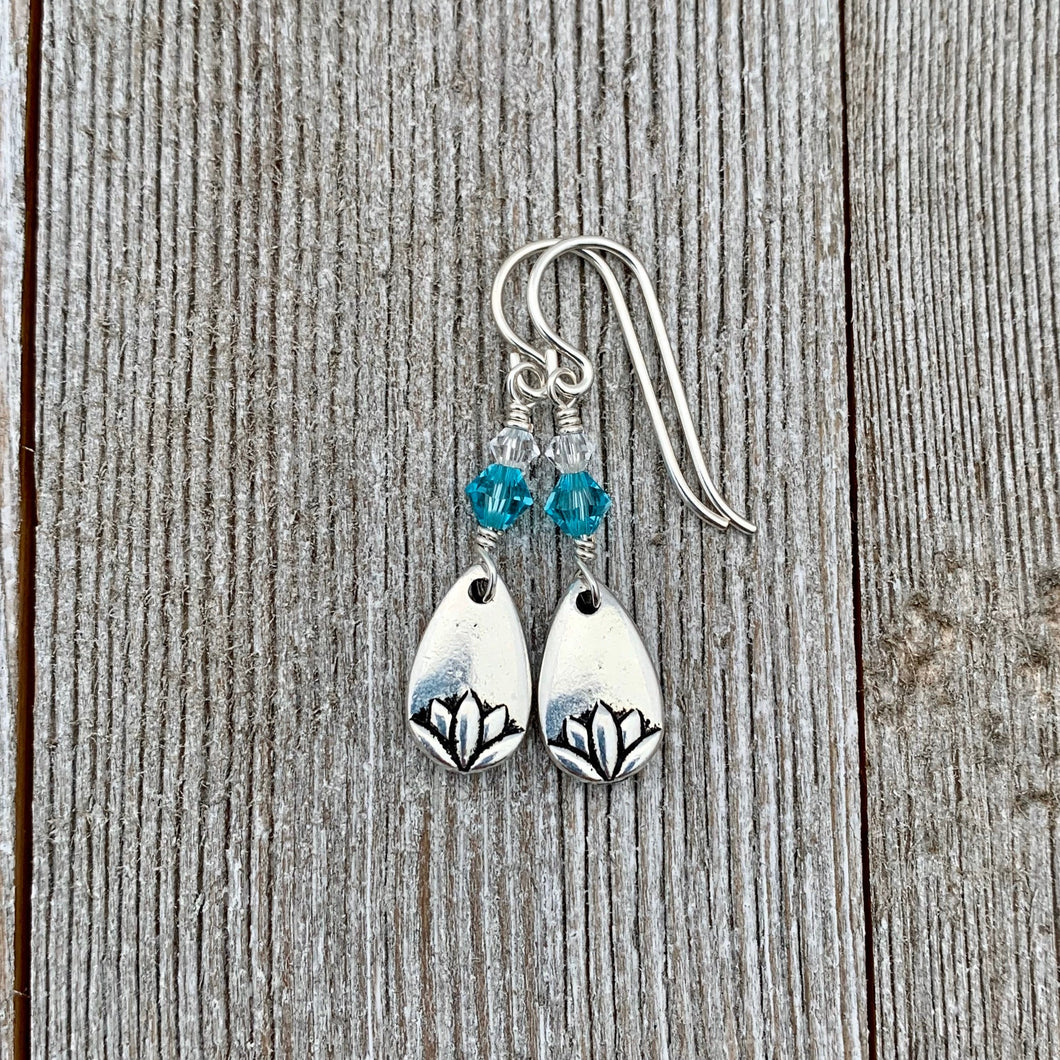 Lotus Petal Earrings, Light Turquoise Swarovski Crystals, Silver Filled Earwires, Dangle, Spring, Summer, Floral, Women, Teens, Gift