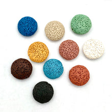 Load image into Gallery viewer, Lava Coin Bead, 20mm, Multiple Colors, For Essential Oil Jewelry, Beading, Stringing, Jewelry Making, Crafts, DIY, Hobby