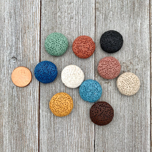 Lava Coin Bead, 20mm, Multiple Colors, For Essential Oil Jewelry, Beading, Stringing, Jewelry Making, Crafts, DIY, Hobby