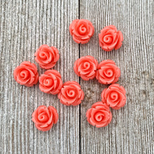 Load image into Gallery viewer, Acrylic Rose Bead, Coral Color, 10mm, For Stringing, Beading, Jewelry Making, Crafts, DIY, Hobby