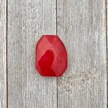 Load image into Gallery viewer, Red Quartz, Irregular Rectangle, Faceted, 30x40mm, Pendant, Dyed, For Stringing, Beading, Jewelry Making, Crafts, DIY, Hobby