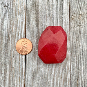 Red Quartz, Irregular Rectangle, Faceted, 30x40mm, Pendant, Dyed, For Stringing, Beading, Jewelry Making, Crafts, DIY, Hobby