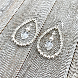 Crystal and Pearl, Wire Wrapped, Teardrop Hoop Earrings, Glass, Swarovski Pearls, Bridal, Formal