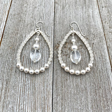 Load image into Gallery viewer, Crystal and Pearl, Wire Wrapped, Teardrop Hoop Earrings, Glass, Swarovski Pearls, Bridal, Formal