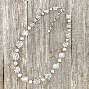 Crystal and Pearl Necklace, Adjustable Length, Sparkle, Bling, Bridal Jewelry, Wedding, Formal