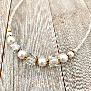 Crystal and Pearl Necklace, Swarovski, Gold Accents, Adjustable Length, Bridal, Wedding, Formal