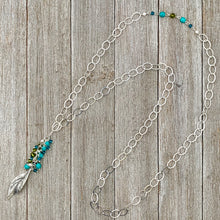 Load image into Gallery viewer, Silver Leaf Pendant, Teal, Turquoise, Olivine Cluster, Long Necklace, Swarovski Crystal, Czech Glass
