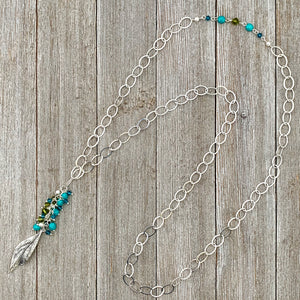 Silver Leaf Pendant, Teal, Turquoise, Olivine Cluster, Long Necklace, Swarovski Crystal, Czech Glass