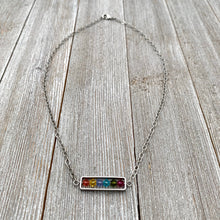 Load image into Gallery viewer, Spring Crystal Framed Necklace, Swarovski, Antique & Matte Silver, Bright Colors, Summer, Easter, For Women, Gift