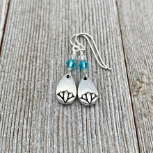 Load image into Gallery viewer, Lotus Petal Earrings, Light Turquoise Swarovski Crystals, Silver Filled Earwires, Dangle, Spring, Summer, Floral, Women, Teens, Gift
