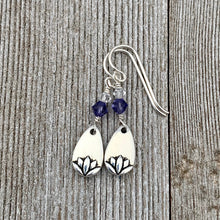 Load image into Gallery viewer, Lotus Petal Earrings, Tanzanite Swarovski Crystals, Silver Filled Earwires, Dangle, Spring, Summer, Purple, Women, Teens, Gift