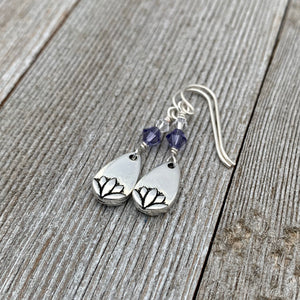 Lotus Petal Earrings, Tanzanite Swarovski Crystals, Silver Filled Earwires, Dangle, Spring, Summer, Purple, Women, Teens, Gift