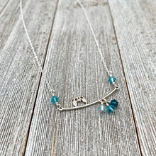 Load image into Gallery viewer, Sterling Silver Owl Necklace, Swarovski Crystals, Owl on a Branch, Teal Owl, Owl Lover, Owl Jewelry