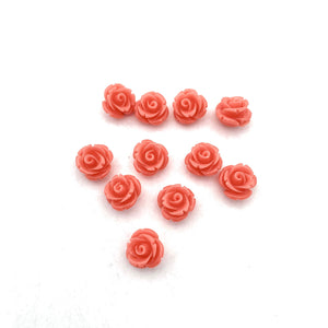 Acrylic Rose Bead, Coral Color, 10mm, For Stringing, Beading, Jewelry Making, Crafts, DIY, Hobby