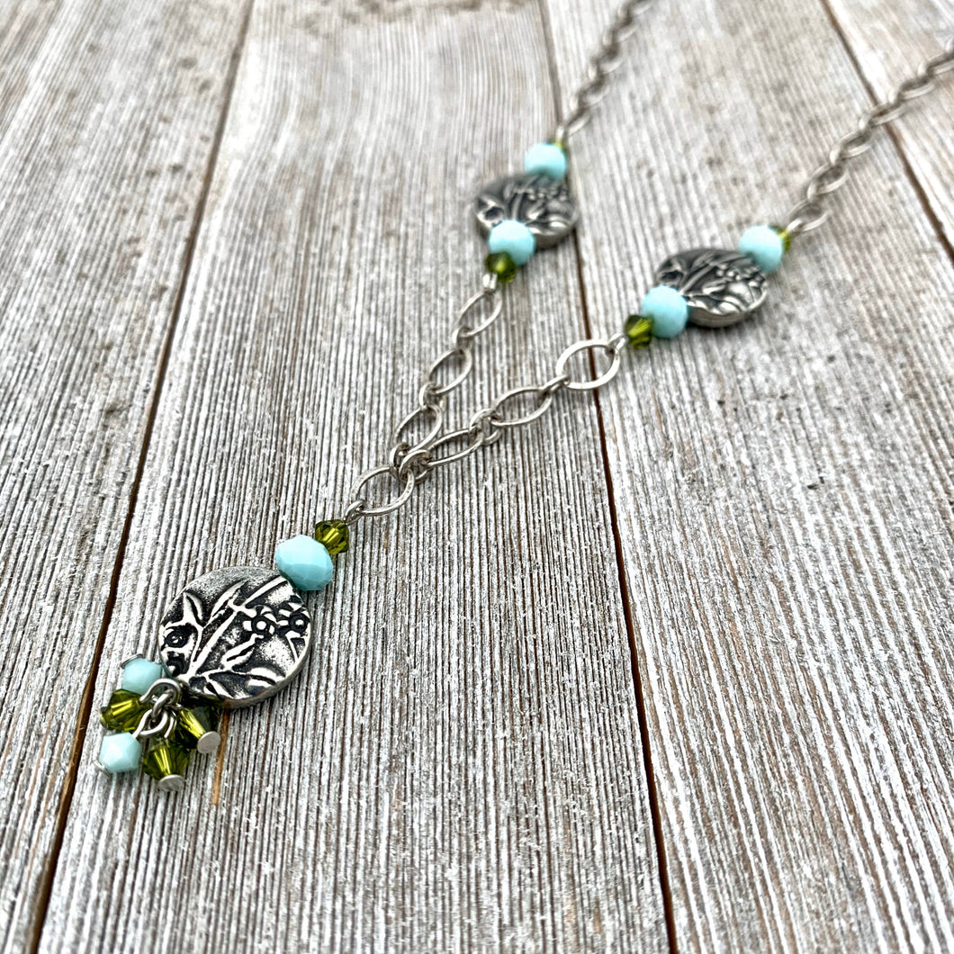 Garden Necklace, Olivine Swarovski Crystals, Turquoise Crystals, Garden Beads, Antique Silver, TierraCast, Adjustable Necklace, For Women