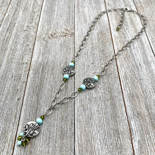 Load image into Gallery viewer, Garden Necklace, Olivine Swarovski Crystals, Turquoise Crystals, Garden Beads, Antique Silver, TierraCast, Adjustable Necklace, For Women