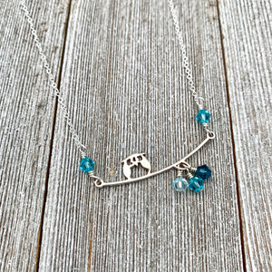 Sterling Silver Owl Necklace, Swarovski Crystals, Owl on a Branch, Teal Owl, Owl Lover, Owl Jewelry