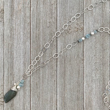 Load image into Gallery viewer, Labradorite Pendant, Messy Wrap, with Lt Azore Crystals and White Swarovski Pearls, Long Necklace