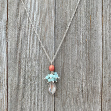 Load image into Gallery viewer, Crystal Flame Charm, Mint Alabaster Cluster, and Metallic Coral Necklace, Silver Plated Chain, Adjustable Length, Gift for Friend
