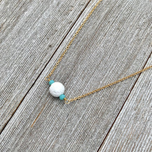 Load image into Gallery viewer, White Lava Diffuser Necklace, Turquoise Crystals, Matte Gold Chain