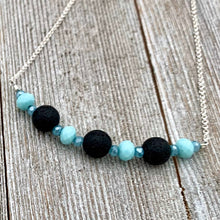 Load image into Gallery viewer, Three Black Lava Beads, Turquoise and Blue Crystals, Diffuser Necklace