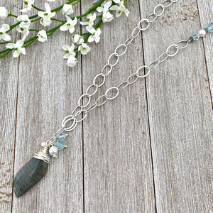 Labradorite Pendant, Messy Wrap, with Lt Azore Crystals and White Swarovski Pearls, Long Necklace