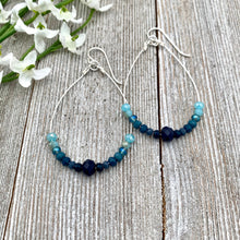 Load image into Gallery viewer, Blue Ombre Teardrop Earrings, Silver Softflex, Silver Filled Ear Wires