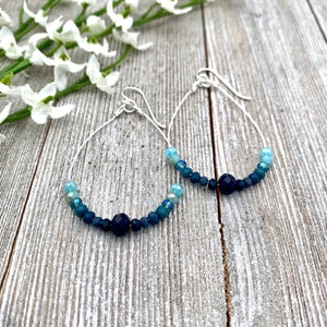 Blue Ombre Teardrop Earrings, Silver Softflex, Silver Filled Ear Wires