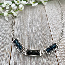 Load image into Gallery viewer, Montana Blue and Jet Swarovski Crystals, Matte Silver Frames, Antique Silver Chain Necklace